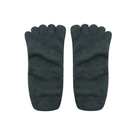 Men Elastic Low Cuff No Show Invisible Boat Toe Socks Dark Gray - image 1 of 2