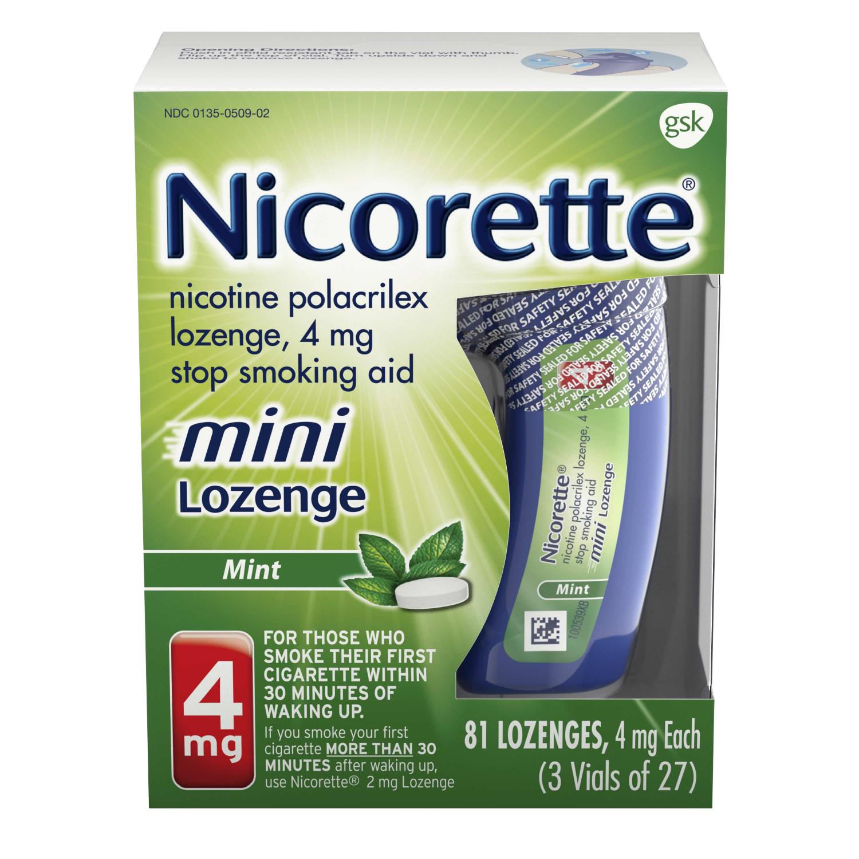 Nicorette Nicotine Mini Lozenge to Stop Smoking, 4mg, Mint Flavor, 81 Count