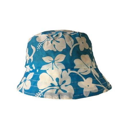 6b381f249bb Rhode Island Novelty - Blue White Luau Hawaiian Flowers Power Hippy Costume  Hibiscus Bucket Hat - Walmart.com