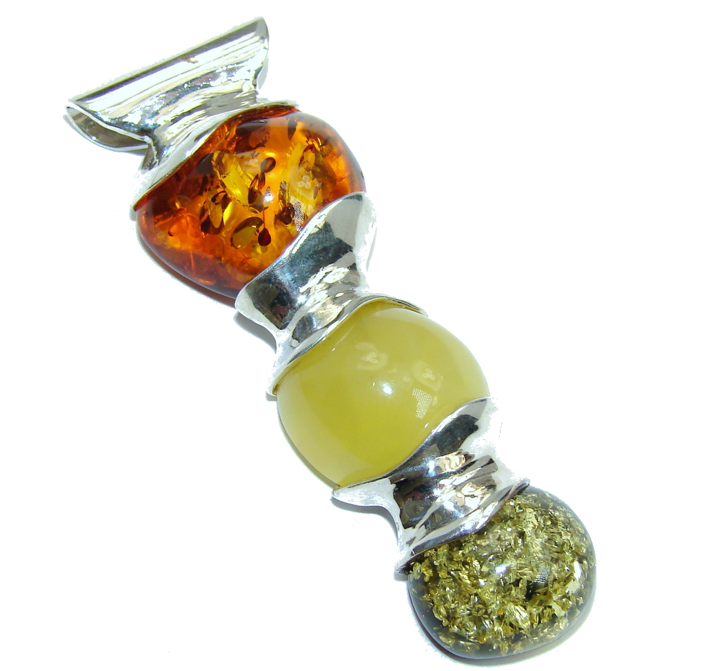 Genuine AAA Yellow Baltic Polish Amber Sterling Silver Pendant by SilverRush Style