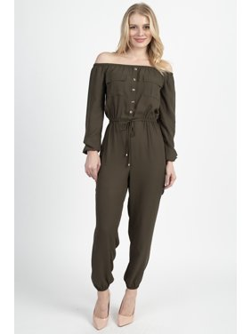 OFASHIONUSA Off Shoulder Drawstring Jumpsuit