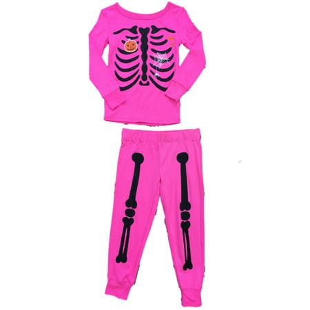 Girls Hot Pink & Black Skeleton Pajamas Pumpkin & Spider Web Sleep Set