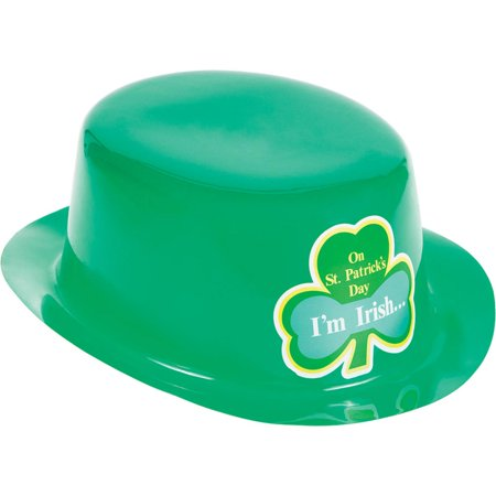 Club Pack of 12 Green St Patrick's Day Plastic Derby Hat 10.5""