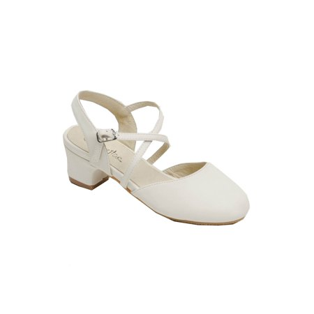Pazitos Girls Ivory D'Orsey Criss Cross Strap Kitten Heel - Ivory Girl Shoes