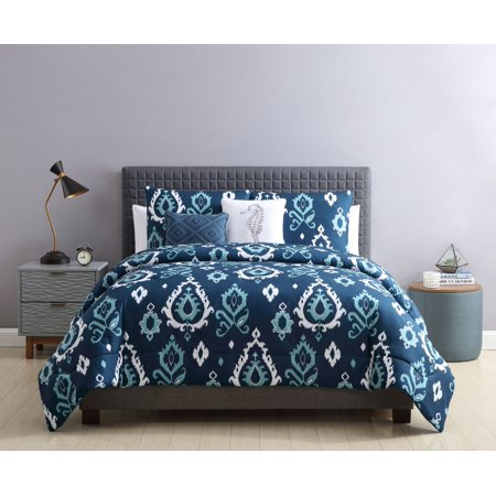 Damask Euro Comforter (Mainstays Beckette Damask Comforter Set, Full, Queen, Navy )