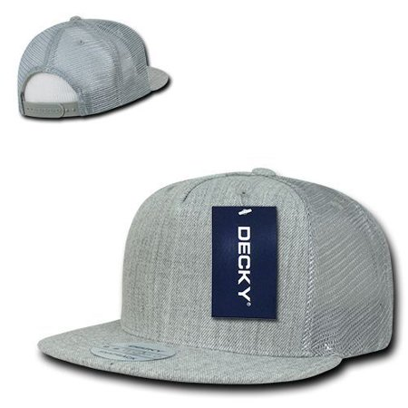 - Heather Gray 5 Panel Mesh Curved Trucker Baseball Ball Cap Hat