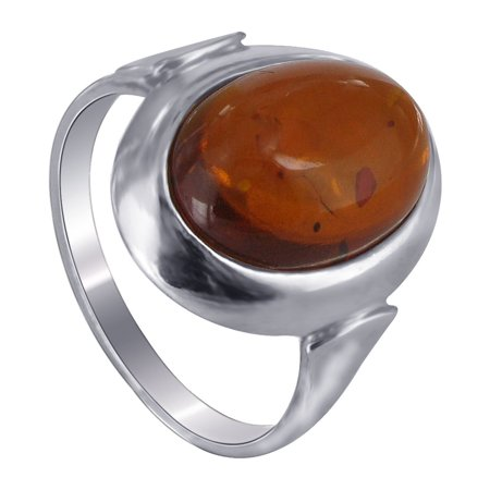 Gem Avenue 925 Sterling Silver Cognac Baltic Amber Stone Solitaire Ring