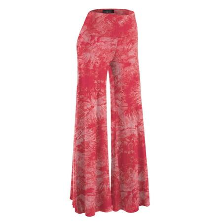 MBJ WB1060 Womens Chic Tie Dye Palazzo Pants XXXL CORAL
