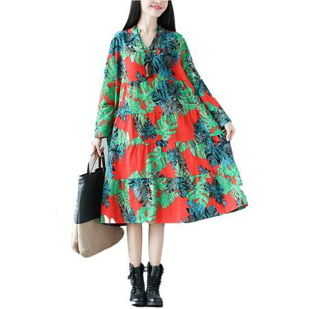 bf55815800 SAYFUT - Women's High Waist Bohemian Maxi Dresses Cotton Long Sleeve V  Neckline Casual Dresses - Walmart.com