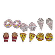 Lux Accessories Silver Tone Desserts and Junk Food Novelty Multi Earring Set 6PC