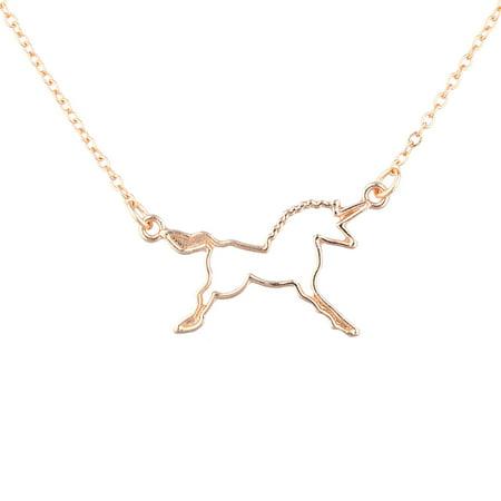 Lux Accessories Rose Gold Tone Cutout Unicorn Fantasy Charm Pendant - Unicorn Cutout