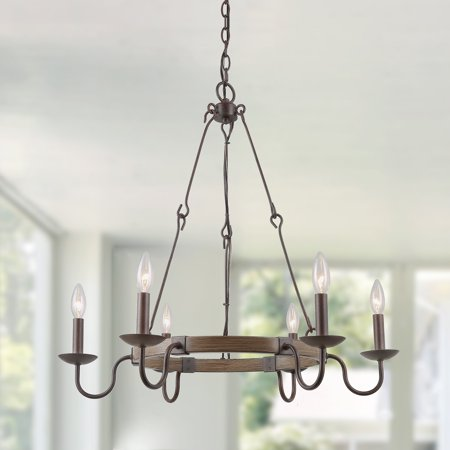 LNC 6-Lights Chandlier Iron Wired Hook Chain French Country Rust Lights, Kitchen Island Lights for Dining Room, Rustic Vintage Industrial Lights for Home Decro