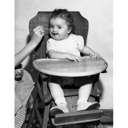 Brilliant Baby Feeding In High Chair Stretched Canvas 24 X 36 Interior Design Ideas Clesiryabchikinfo