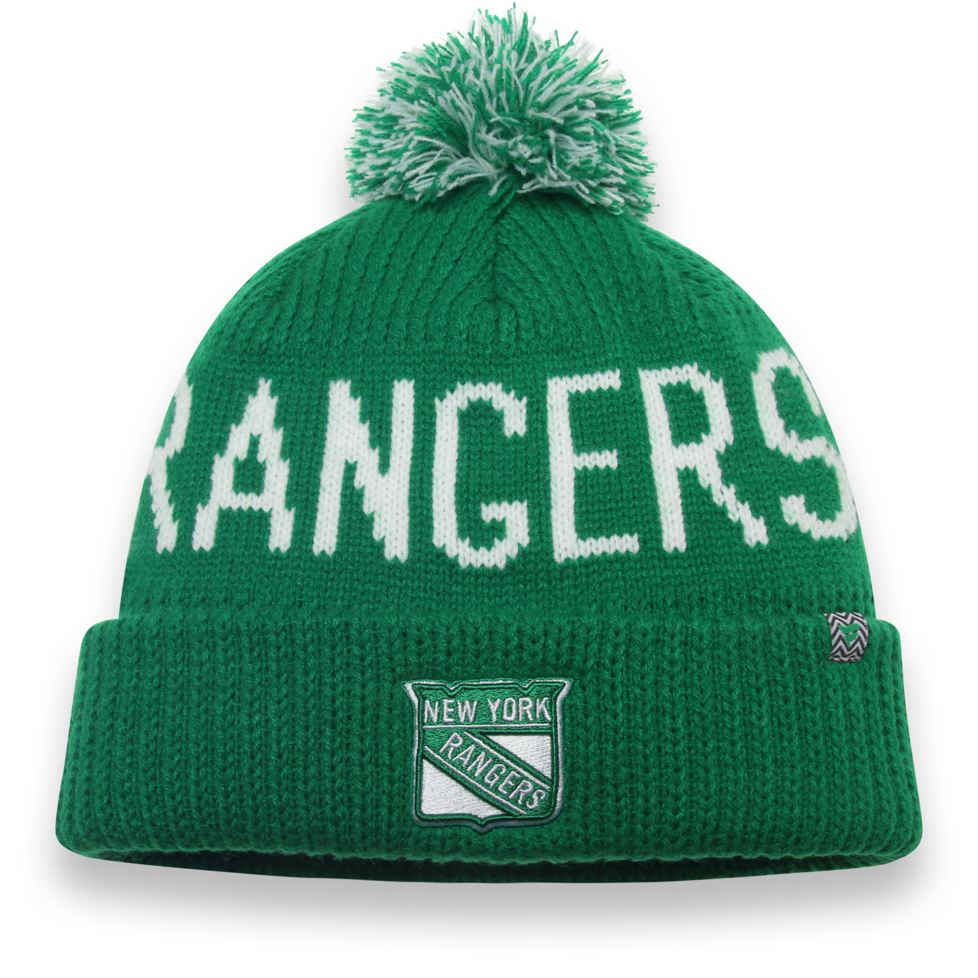 New York Rangers Fanatics Branded St. Patrick's Day Cuffed Knit Hat with Pom - Green - OSFA