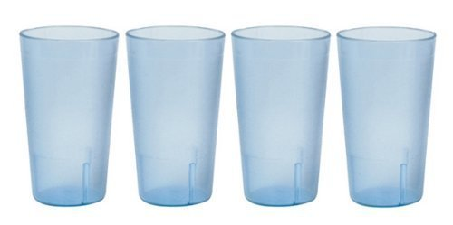 20 Ounce Restaurant Tumbler Beverage Cup, Stackable Cups, Break Resistant Commmerical Plastic, Set of 4 Blue by Thunder Group