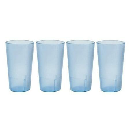 20 Ounce Restaurant Tumbler Beverage Cup, Stackable Cups, Break Resistant Commmerical Plastic, Set of 4 - Blue Blue Textured Stackable Tumbler