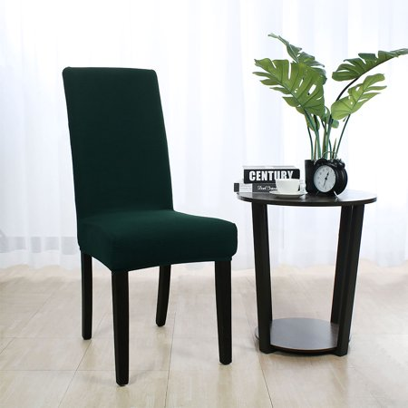 Stretch Knit Jacquard Chair Cover Short Dining Chair Slipcover Dark Green - image 7 de 7