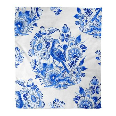 ASHLEIGH Flannel Throw Blanket Delft Blue Watercolour Traditional Dutch Floral Paradise Bird Among Beautiful Flowers Cobalt 58x80 Inch Lightweight Cozy Plush Fluffy Warm Fuzzy Soft