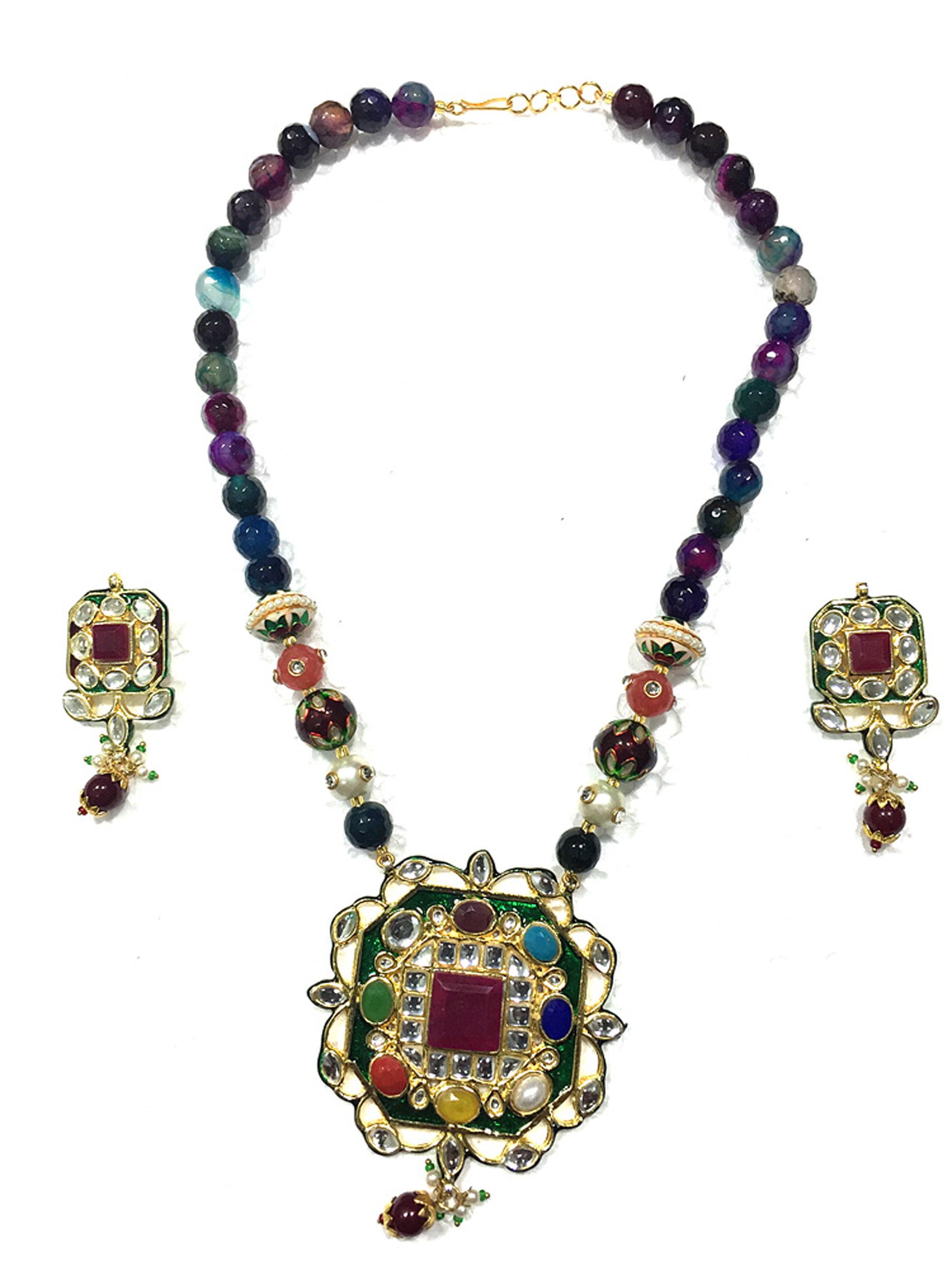 Mogul Women's Fashion Necklace TOURMALINE ARTISAN Pandant Jewelry Sets by