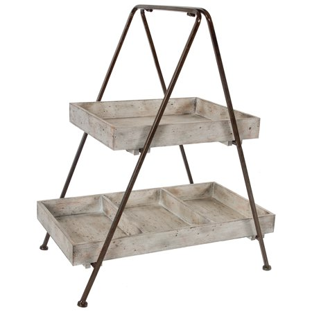 A&B Home Jardin Two Tiered Wood & Metal - 2 Tier Shelf