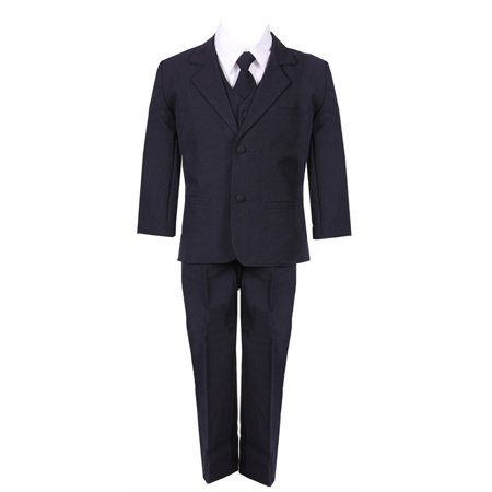 Little Boys Navy Blue 5 Piece Vest Jacket Pants Special Occasion - Blue Suit Next