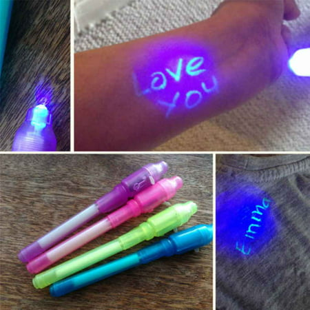 4PCS Invisible Ink Spy Pen Built In UV Light Magic Marker Secret Message Gadget