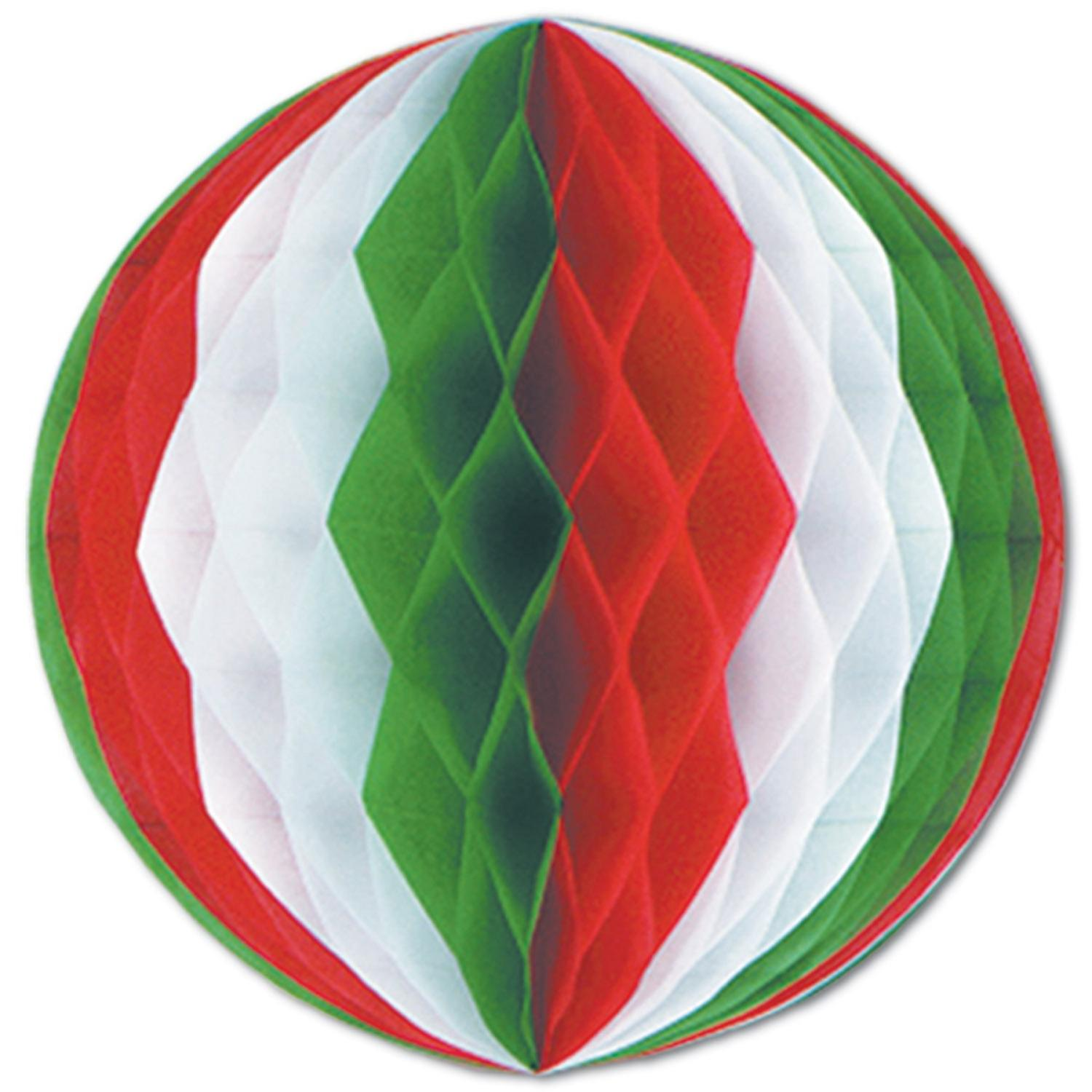 """Pack of 12 Red, White and Green Honeycomb Hanging Tissue Ball Decorations 19"""""""