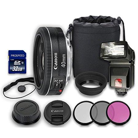 Canon EF 40mm STM Lens + Rubber Lens Hood + Lens Cap + Lens Bag + 3 PC Filter Kit + Flash + Memory Card + Cap Keeper (Flash Card Rubber Bands)
