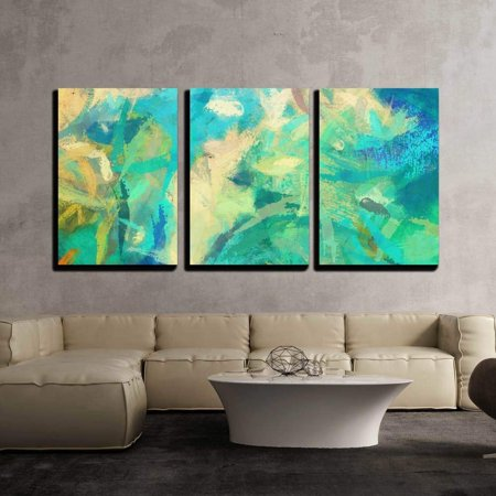 Wall26 3 Piece Canvas Wall Art Art Abstract Painted Background With Green Blue And Orange Blots Modern Home Decor Stretched And Framed Ready To