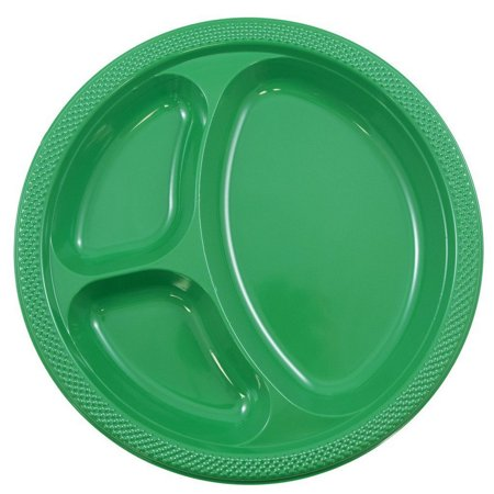 JAM Paper Plastic 3 Compartment Divided Plates, Large, 10.25, Green, 20/pack - Green Plastic Plates