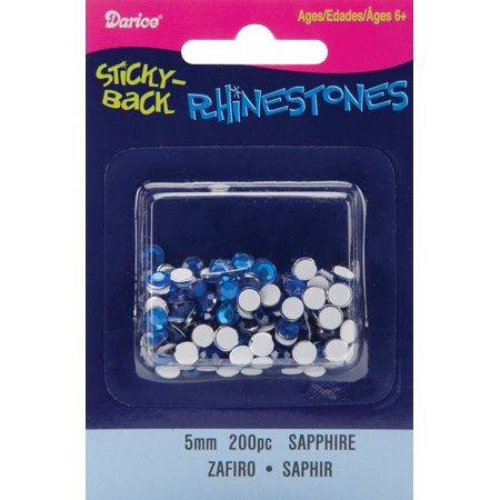 Sapphire Sitck On Rhinestones: Round, 5mm Blue Sapphire Rondelle Beads
