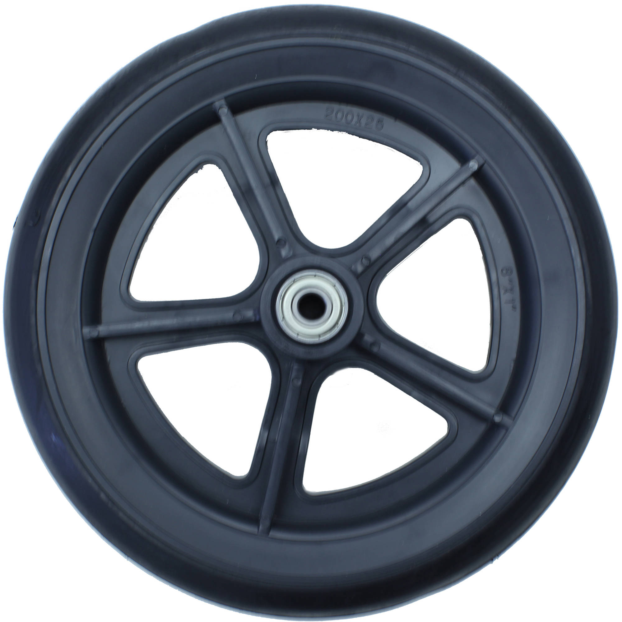 "Karman 8"" Wheelchair Casters, Solid Black with 7/16 Bearing"
