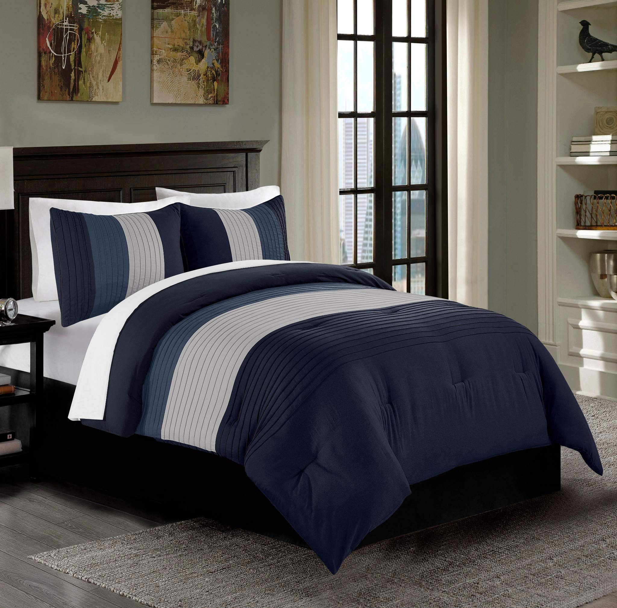 Chezmoi Collection Harper 3-Piece Luxury Striped Pleated Bedding Comforter Set