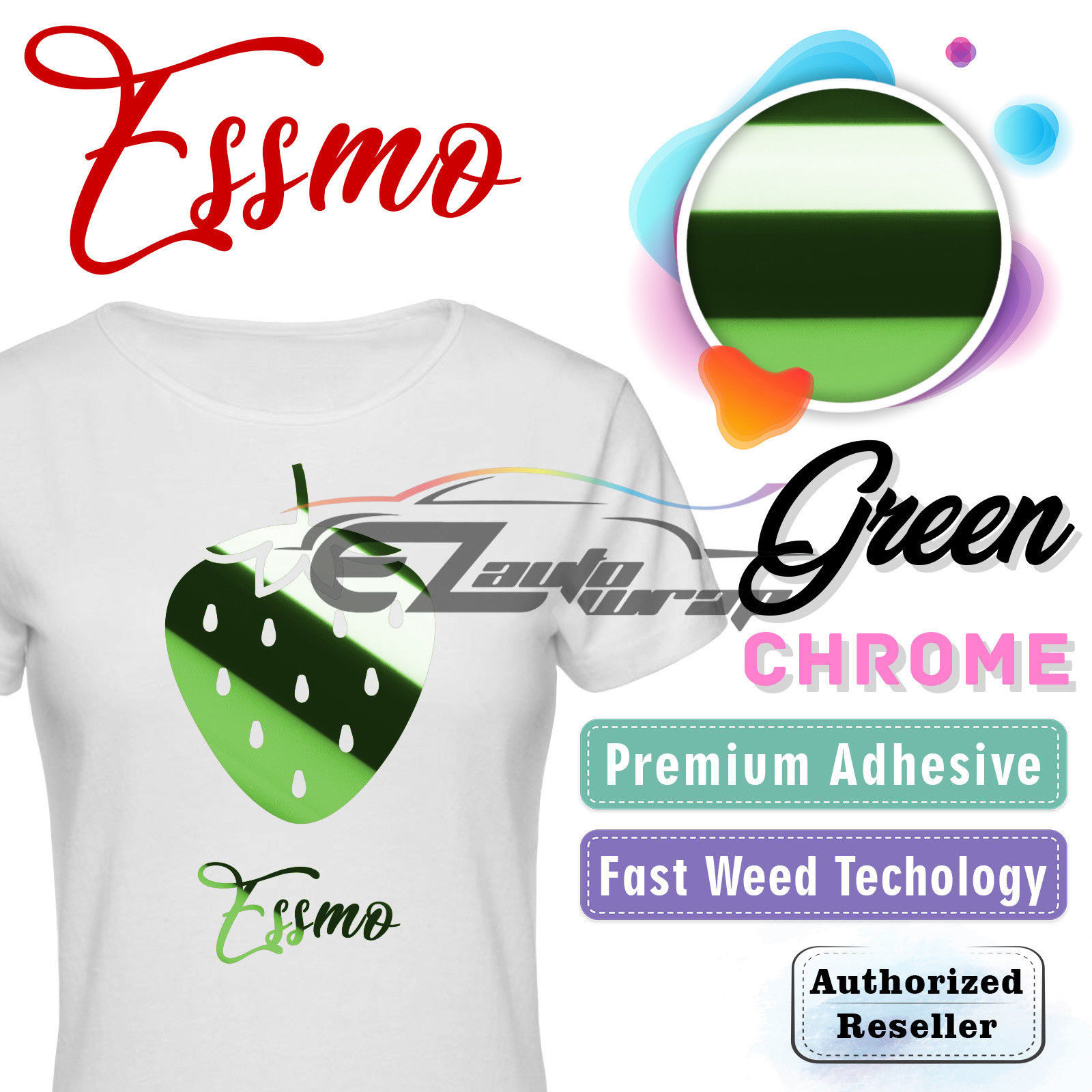 "ESSMO Green Chrome Heat Transfer Vinyl HTV Sheet T-Shirt 20"" Wide Iron On Heat Press 20""x12"""