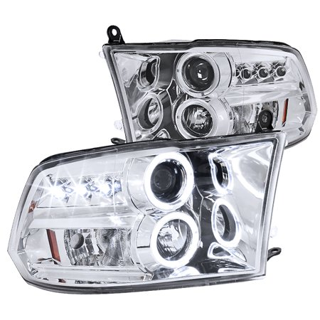 Spec-D Tuning 2009-2016 Dodge Ram Halo Led Projector Headlights Piano 2009 2010 2011 2012 2013 2014 2015 2016 (Left +