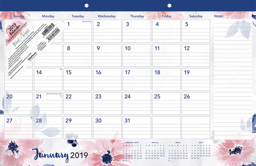 2019 Florals Desk Pad Calendar by Trends International