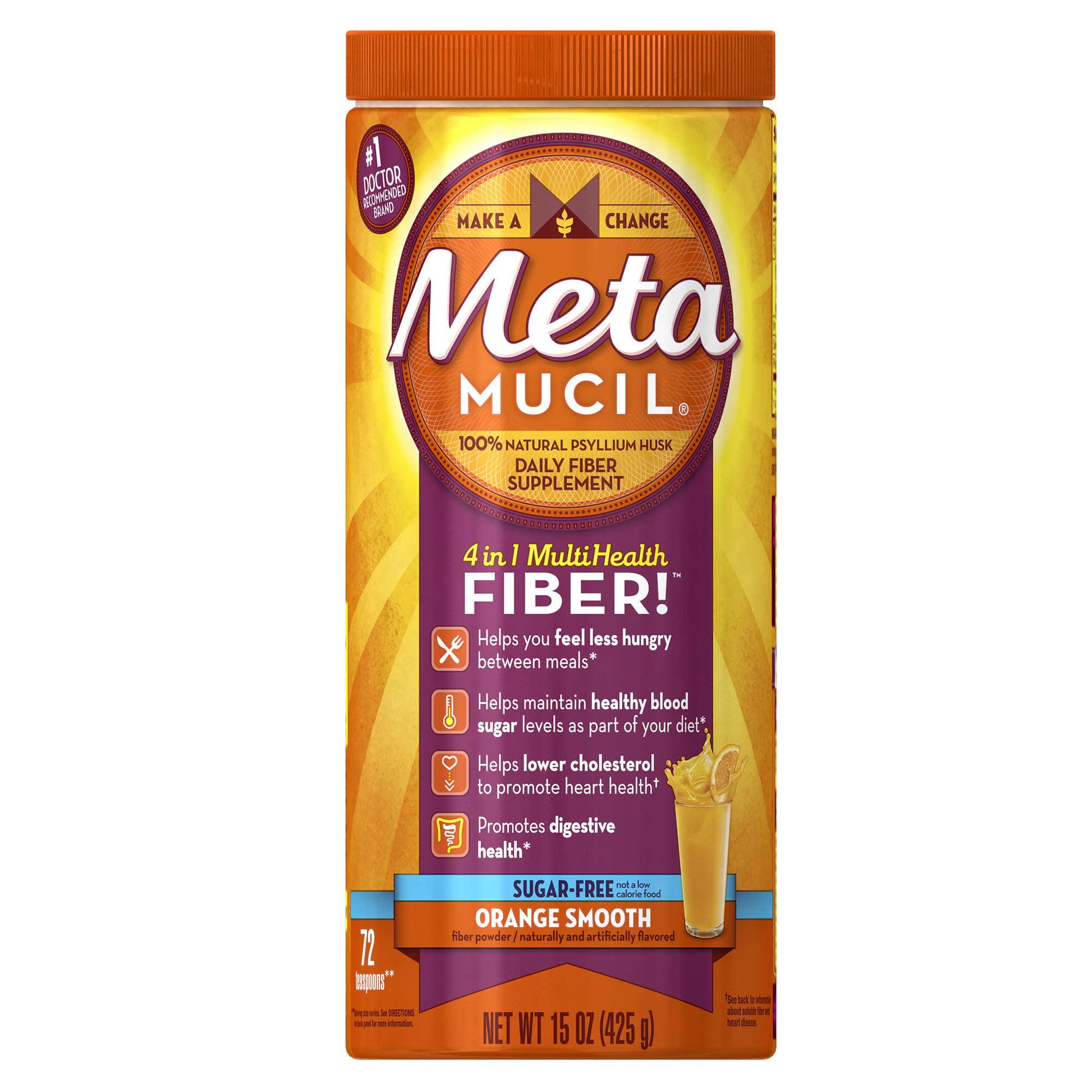 Metamucil Psyllium Fiber Supplement by Meta Orange Smooth Sugar Free Powder 15 oz 72 doses