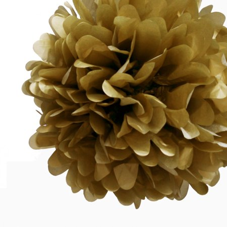 Flowers Out Of Tissue Paper (Quasimoon EZ-FLUFF 12'' Gold Tissue Paper Pom Poms Flowers Balls, Decorations (4 Pack) by)
