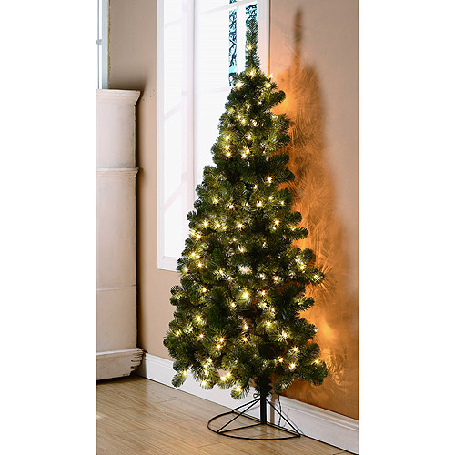 Holiday Time Pre-Lit 6' Half-Corner Artificial Christmas Tree, Clear Lights