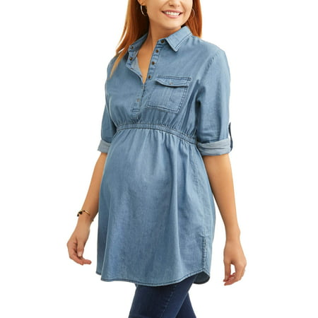 8d66ea663b9be Planet Motherhood Maternity Woven Baby Doll Button Up Collared Chambray