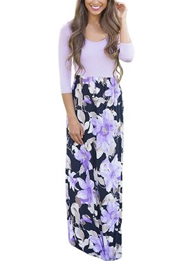 4bf0d9a34754 Free pickup. Product Image 3 4 Sleeve Women Floral Patchwork Casual Long  Maxi Dress