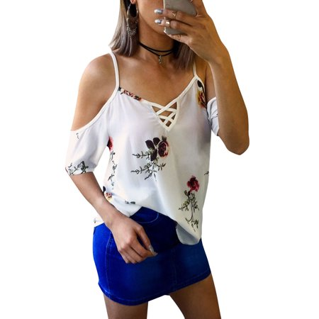 00e4f7527baa3a Nlife Women Short Sleeve Cross V Neck Cold Shoulder Floral Print T ...