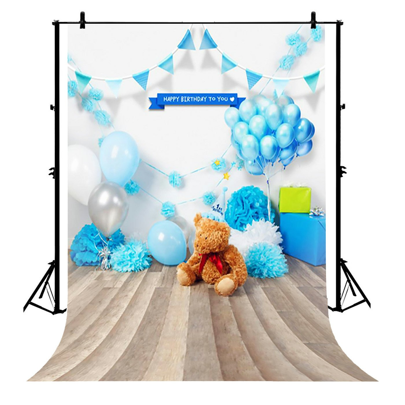 GCKG 7x5ft Cake Smash 1st Birthday Bear Boy Baby Polyester Photography Backdrop Studio Prop Photo Background