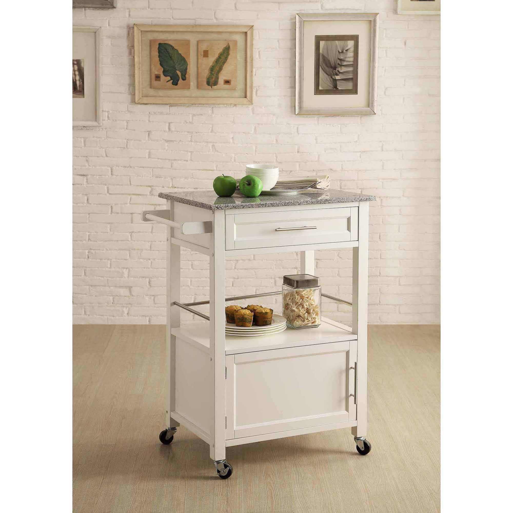 White Kitchen Cart With Granite Top Mitchell Kitchen Cart With Granite Top White Finish Walmartcom