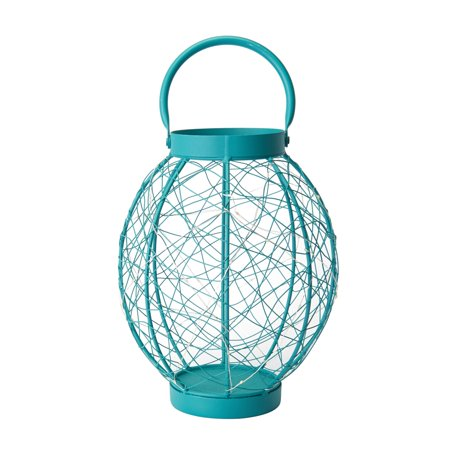 Elements 12 Inch Tall Turquoise Oval Led Micro-light Lantern ()