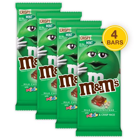 (4 pack) M&M'S Minis, Crispy Mint & Milk Chocolate Candy Bar, 3.8 Oz