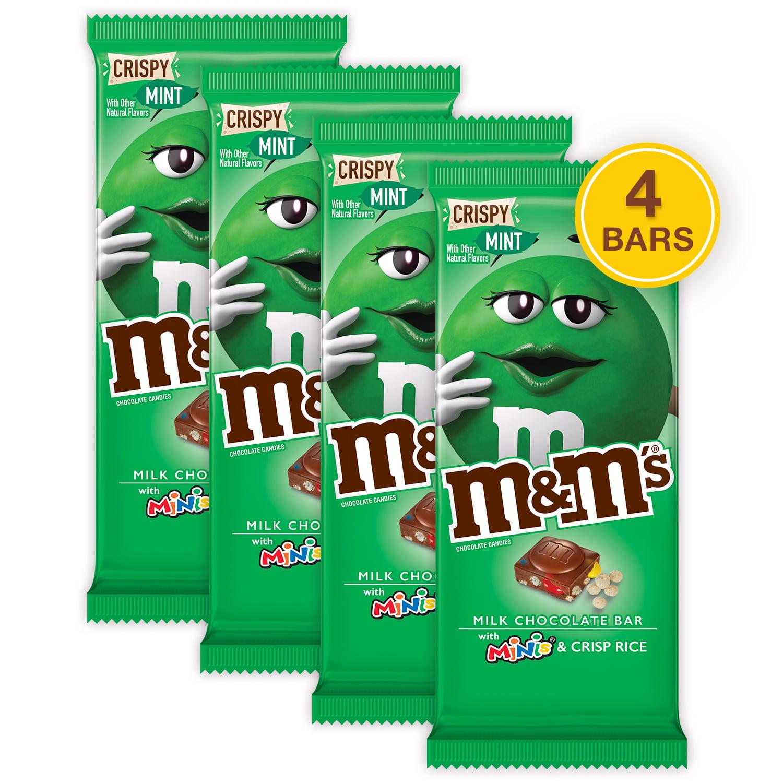 (4 pack) M&M'S Minis, Crispy Mint & Milk Chocolate Candy Bar, 3.8 Oz