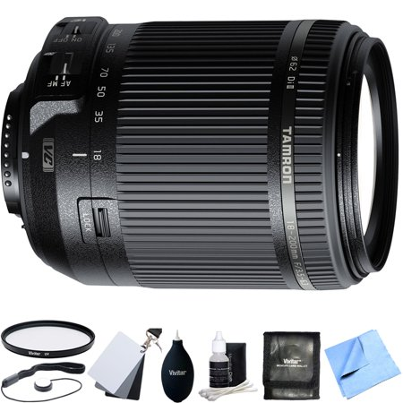 Tamron 18-200mm Di II VC All-In-One Zoom Lens for Nikon Mount w/ Accessory Bundle includes Lens, 62mm UV Filter, White Balance Cards, Cap Keeper, Cleaning Kit, Beach Camera Microfiber Cloth and