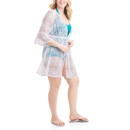Time And Tru Womens Plus Size Tie Front Crochet Tunic Swim Cover