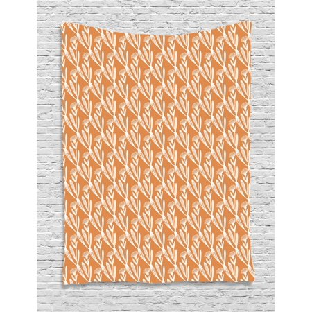 Apothecary Tapestry, Alternative Medicine Pattern Repeating Calendula Flowers on Orange Background, Wall Hanging for Bedroom Living Room Dorm Decor, 40W X 60L Inches, Orange White, by Ambesonne](Halloween Repeating Backgrounds)